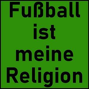 Dieses quadratische dÜsign von Thorsten Hülsberg zeigt in schwarzen Lettern und schwarzer Rahmung auf BALLackergrün die Aussage: Fußball ist meine Religion.