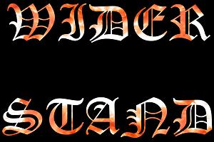 Dieses Bild von Thorsten Hülsberg zeigt in alter, flammender Schrift auf schwarzem Grund in zwei Zeilen WIDERSTAND.