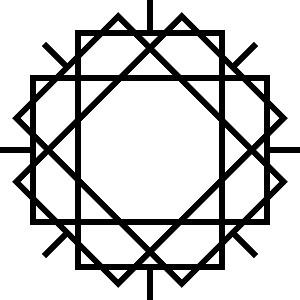Bei diesem dÜsign von Thorsten Hülsberg wurde das Widerstandssymbole viermal übereinandergelegt und jeweils um 45 Grad gedreht.