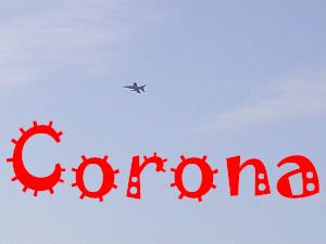 Dieses Foto von Thorsten Hülsberg zeigt einen Kampfjet am Himmel und darunter steht virusartig in rot Corona.
