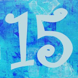 Dieses Bild von Thorsten Hülsberg zeigt in Blautönen eine 15 auf einem künstlerisch gestalteten Hintergrund.