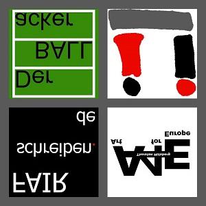Hier sieht man die vier Logos vom Ü, FAIRschreiben, Art for Europe (A4E) und Der BALLacker in einem Quadrat im Grau vom Ü angeordnet. Dies alles ist dazu noch horizontal gespiegelt.