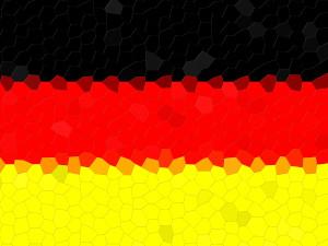 Dieses Bild von Thorsten Hülsberg zeigt eine sich in mosaikform auflösende Deutschlandfahne.