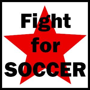 Dieses BALLacker-dÜsign von Thorsten Hülsberg zeigt schwarz gerahmt auf weißem Grund einen roten Stern über dem in schwarz steht: Fight for SOCCER.