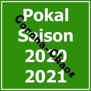 Dieses quadratische Bild von Thorsten Hülsberg zeigt in vier Zeilen im Grünweiß vom BALLacker Pokal Saison 2020 2021, darüber steht schräg und in schwarzer, an einen Virus erinnernder Schrift Corona-Chaos.
