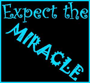 Dieses FUNbox-dÜsign von Thorsten Hülsberg zeigt in neonblau inklusive des Rahmens auf weißem Grund: Expect the MIRACLE.