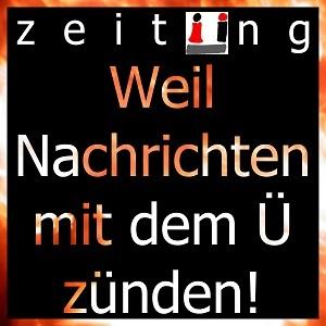 Dieses Bild von Thorsten Hülsberg zeigt auf schwarzem Grund das Logo der zeitÜng  und darunter den Satz: Weil Nachrichten mit dem Ü zünden! in flammenden Buchstaben.
