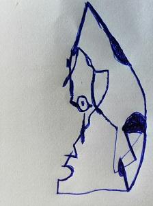 Hier sieht man eine Skizze (Kugelschreiber auf Papier) des Künstlers Thorsten U. Hülsberg für ein neues Konzept.
