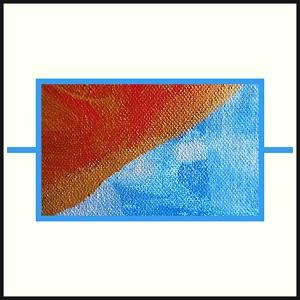Dieses Bild auf cremigen Grund im schwarzen Rahmen zeigt ein hellblaues Widerstandssymbol gefüllt mit einem Ausschnitt einer Leinwandarbeit von Thorsten Hülsberg.