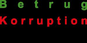 Dieses Bild von Thorsten Hülsberg zeigt die Wörter Betrug, Korruption und Rechtsbeugung, jeweils in grün, rot und schwarz.