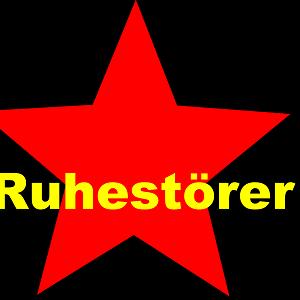 Dieses dÜsign von Thorsten Hülsberg zeigt auf schwarzem Grund einen roten Stern und darüber in gelb Ruhestörer.