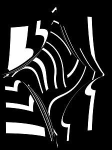 Zeichen ist eine Schwarzweißarbeit mit geschwungenen Formen aus der GRAUzone.