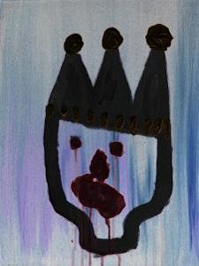 Dieses Bild von Thorsten Hülsberg ist die invertierte Version seiner Leinwandarbeit mit dem Titel Prinz Krankheit.