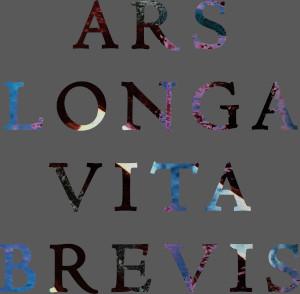 Dieses Bild von Thorsten Hülsberg zeigt die invertierte Version des ersten Ars longa Vita brevis-dÜsigns auf grauem Grund.