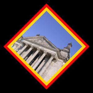 Dieses Bild von Thorsten Hülsberg zeigt den Reichstag in Berlin in Rautenform eingefasst in den deutschen Nationalfarben.