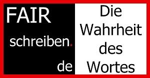 Banner mit dem FAIRschreiben.de-Logo und dem Schriftzug: Die Wahrheit des Wortes.