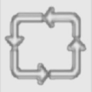 Hier sieht man ein von Thorsten Hülsberg künstlerisch umgestaltetes Piktogramm mit vier sich quadratisch folgenden Pfeilen.