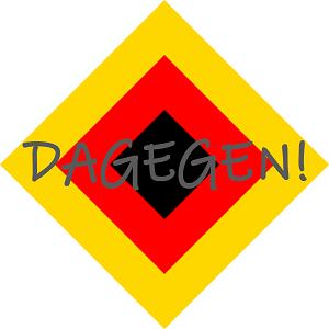 Dieses FAIRschreiben-dÜsign von Thorsten Hülsberg zeigt eine Raute in den deutschen Nationalfarben darüber steht in grau: DAGEGEN!