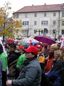 Dieses Farbfoto von Thorsten Hülsberg zeigt einen Arbeitnehmerprotest.