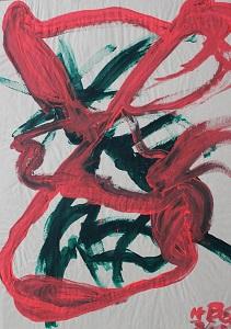 Dieses Gemälde auf Papier von Thorsten Hülsberg zeigt eine zweifarbige Fratze.