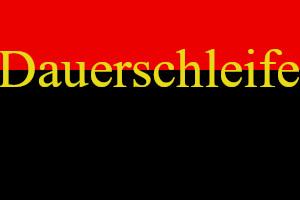 Dieses Bild von Thorsten Hülsberg zeigt im unteren Bereich einen größeren schwarzen Block und darüber einen kleineren in rot. In goldener Schrift steht über der verbindenden Linie Dauerschleife.