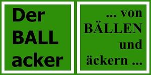 Banner mit dem Der BALLacker-Logo und dem Schriftzug: Von Bällen und Äckern.