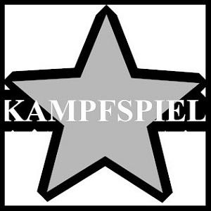 Diese Grafik von Thorsten Hülsberg zeigt ein dreidimensional anmutenden schwarzgrauen Stern und darüber auf schwarzem Grund das Wort Kampfspiel alles auf weißem Hintergrund in schwarz gerahmt.