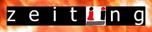 Das zeitÜng-Logo mit flammenden Rahmen