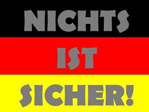 Dieses Bild von Thorsten Hülsberg zeigt das FAIRschreiben-dÜsign: NICHTS IST SICHER!