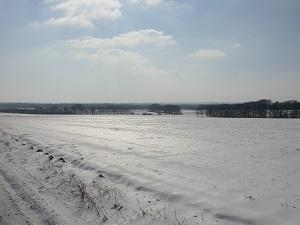 Dieses Farbfoto von Thorsten Hülsberg zeigt eine tiefverschneite Landschaft in Norddeutschland.