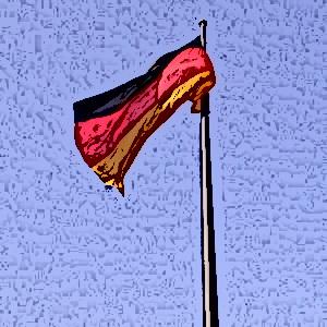 Dieses Bild von Thorsten Hülsberg zeigt eine Deutschlandfahne vor blauem Himmel im Comicstyle.