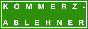 Dieses komplett weiße dÜsign von Thorsten Hülsberg sitzt auf BALLackergrünem Grund und man liest zweizeilig KOMMERZ-ABLEHNER.