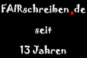 Dieses Bild von Thorsten Hülsberg zeigt ein ans Virus angelehntes Logo von FAIRschreiben.de und darunter in der gleichen Schrift seit 13 Jahren auf zwei Zeilen.