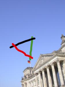 Dieses Bild von Thorsten Hülsberg zeigt den Reichstag in Berlin mit einem gezeichneten Dreieck in den Parteifarben der Union, SPD und Grünen darüber.