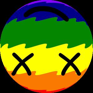 Dieses Bild von Thorsten Hülsberg zeigt einen auf dem Kopf stehenden Smiley in Regenbogenfarben.