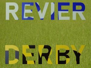 Diese Collage von Thorsten Hülsberg zeigt das Wort Revier im Stiel des Schalke-Logos und das Wort Derby im BVB-Stil auf Rasen.
