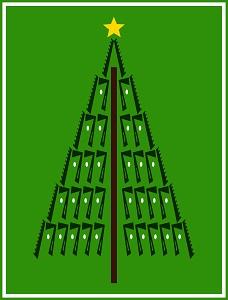 Dieses Bild von Thorsten Hülsberg zeigt einen Weihnachtsbaum mit weißen Kugeln und gelben Weihnachtsstern im BALLacker-Stil.