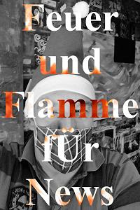 Über diesem weihnachtlichen Selbstportrait in schwarzweiß steht in flammender Schrift: Feuer und Flamme fÜr News.