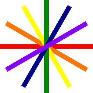 Dieses quadratische RAINBOWarea-dÜsign von Thorsten Hülsberg zeigt hier auf weißem Grund kreisförmig angeordneter Balken in Regenbogenfarben, welche ein Glücksrad symbolisieren.