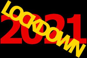 Dieses Bild von Thorsten Hülsberg zeigt eine rote 2021 auf schwarzem Grund und schräg darüber das goldene Wort: LOCKDOWN.
