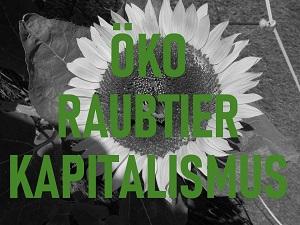 Schwarzweiß-Fotografie einer Sonnenblume von Thorsten Hülsberg mit der grünen Aufschrift Ökoraubtierkapitalismus.