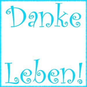 Dieses dÜsign von Thorsten Hülsberg zeigt in neonblauer Schrift und ebenso gerahmt in zwei Zeilen: Danke Leben!