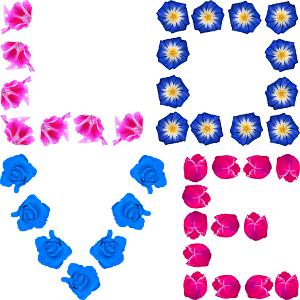 Dieses FUNbox-dÜsign von Thorsten Hülsberg zeigt LOVE über zwei Zeilen aus Blüten.