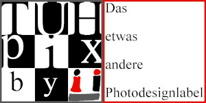 Banner mit dem TUHpix-Logo und dem Schriftzug: Das etwas andere Photodesignlabel.