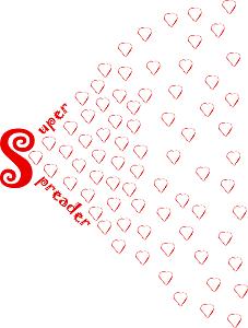 Dieses dÜsign im Zeichen der Liebe von Thorsten Hülsberg zeigt rote Herzen die aus den gespreizten Worten Super Spreader basierend auf einem S strömen.