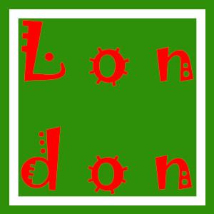 Dieses Bild von Thorsten Hülsberg zeigt in einer virusartigen Schrift in rot auf dem typischen BALLacker-Layout London über zwei Zeilen.