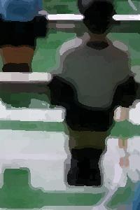 Dieses Bild von Thorsten Hülsberg zeigt eine abstrahierte Szene eines Kickers.
