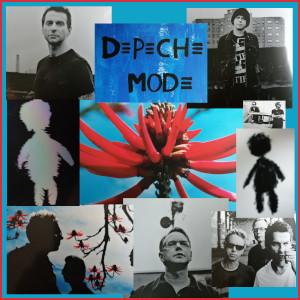 Diese gerahmte Fotocollage von Thorsten Hülsberg zeigt Ausschnitte von Covern von Depeche Mode aus der Zeit von Playing The Angel.