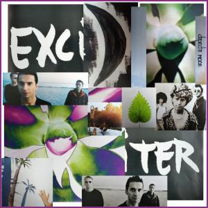 Diese gerahmte Fotocollage von Thorsten Hülsberg zeigt Ausschnitte von Covern von Depeche Mode aus der Zeit von Exciter.