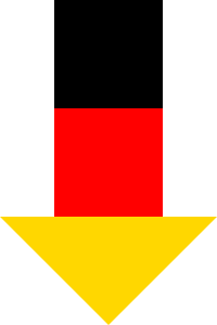 Diese Bild von Thorsten Hülsberg zeigt einen nach unten zeigenden Pfeil in den deutschen Nationalfarben.